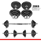 Gallant 20kg Dumbells Set - Adjustable Cast Iron Hand Weights And Barbell Bar Joiner For Men, Weight Lifting Home Gym Equipment Free Training