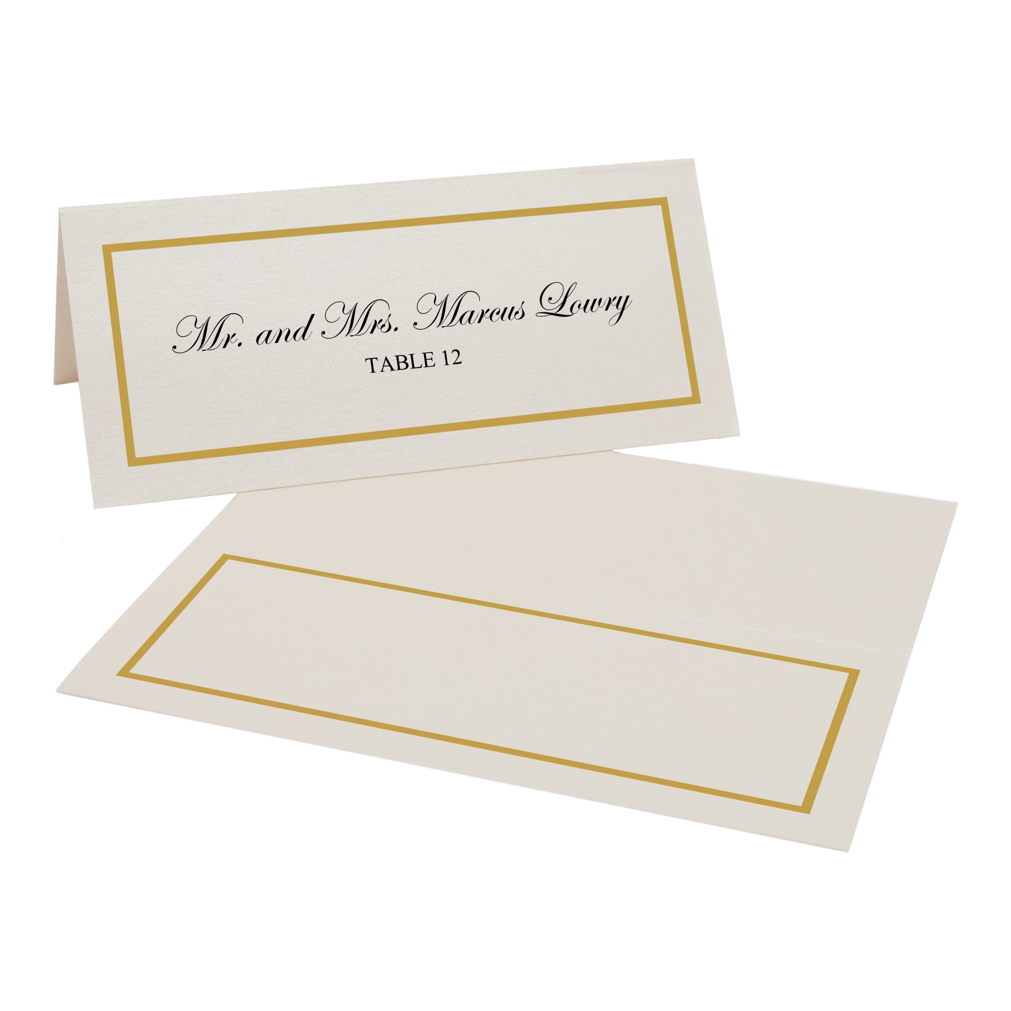 Single Line Border Easy Print Place Cards, Champagne, Gold, Set of 300 (75 Sheets) by Documents and Designs