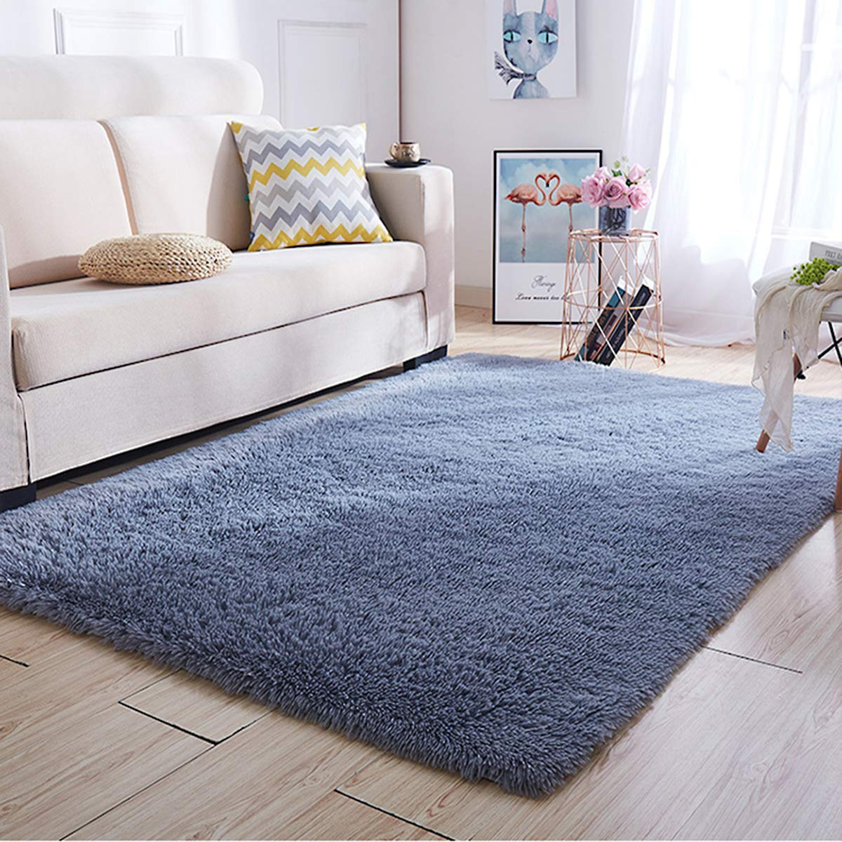 Super Soft Kids Room Nursery Rug 5 x 8 Grey Mordern Indoor Fluffy Area Rugs for Bedroom Living Room Baby Girls Boys Floor Carpets by VaryCarry