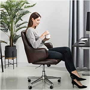 Glitzhome Modern Adjustable Mid-Back Office Chair Executive Swivel PU Leather Desk Chair with Arms, Coffee