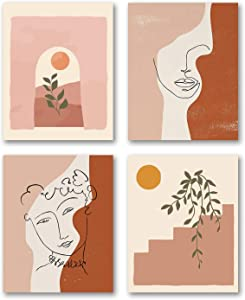"VOUORON Mid Century Modern Art Painting Set of 4 (8""X10 ""Canvas Picture) Gallery Wall Art Prints Scandinavian Style Decor Print Room Livingroom Poster Art Painting Bedroom for Home Decor No Frame"