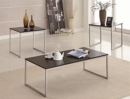 3pc Coffee Table and End Tables Set with Wood Top Silver Metal Base