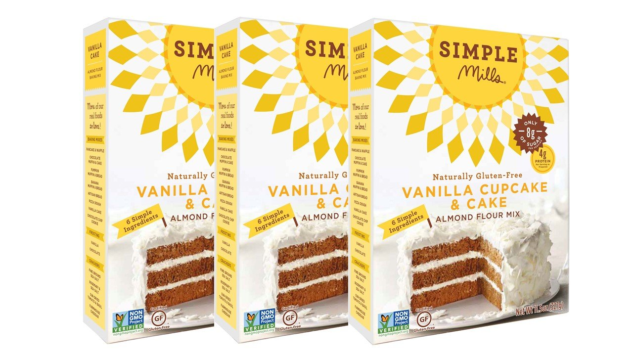 Simple Mills Almond Flour Mix, Vanilla Cupcake & Cake, 11.5 oz, 3 count by Simple Mills