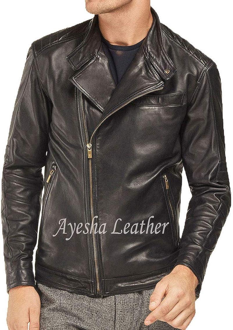 Ayesha Mens Leather Jackets Motorcycle Bomber Biker Genuine Lambskin 453