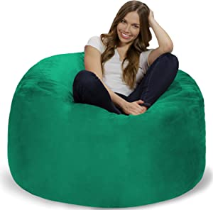 Chill Sack Bean Bag Chair: Giant 4' Memory Foam Furniture Bean Bag - Big Sofa with Soft Micro Fiber Cover - Tide Pool