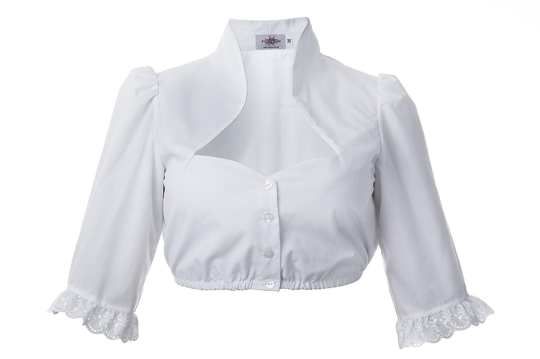Dirndl Couture Bluse Julia - 3/4 Arm Dirndlbluse weiß mit Stehkragen Trachtenmode für Damen nicht nur für das Oktoberfest