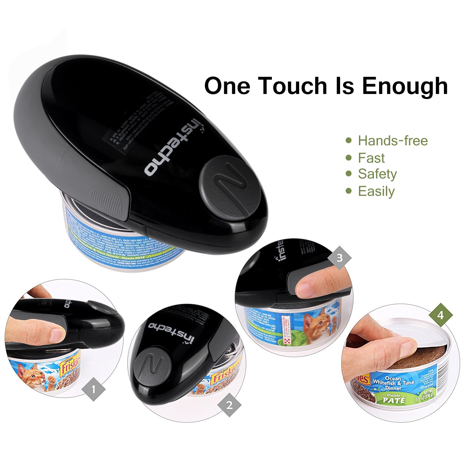 Electric Can Opener, Mini Restaurant Can Opener, Smooth Edge Automatic Electric Can Opener. Chef's Choice (NSBlack) by instecho (Image #4)