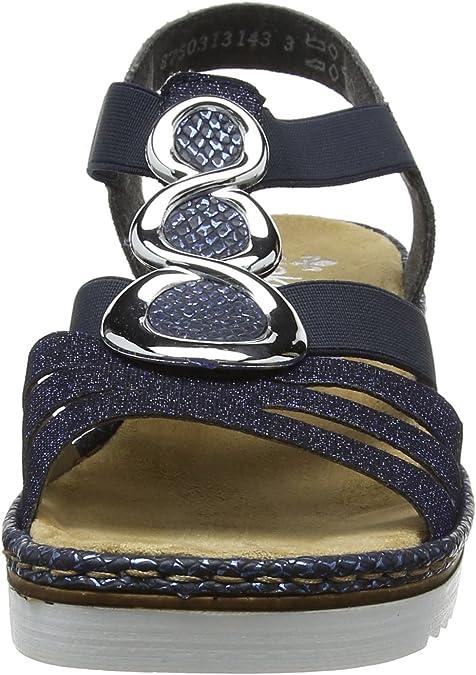 Rieker 679L4 14, Sandales Bride Arriere Femmes, Bleu (Royal