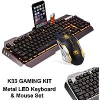 Microware Keyboard Rainbow Backlit Wired Gaming Keyboard Mouse Combo, LED 104 Keys USB Ergonomic Wrist Rest Keyboard, 3200DPI 6 Button Mouse for Windows PC Gamer Desktop, Computer