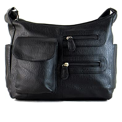 da47823465f9 Xardi London Black Medium Women Satchel Faux Leather Cross Body Bags Ladies  Work Office Girls College