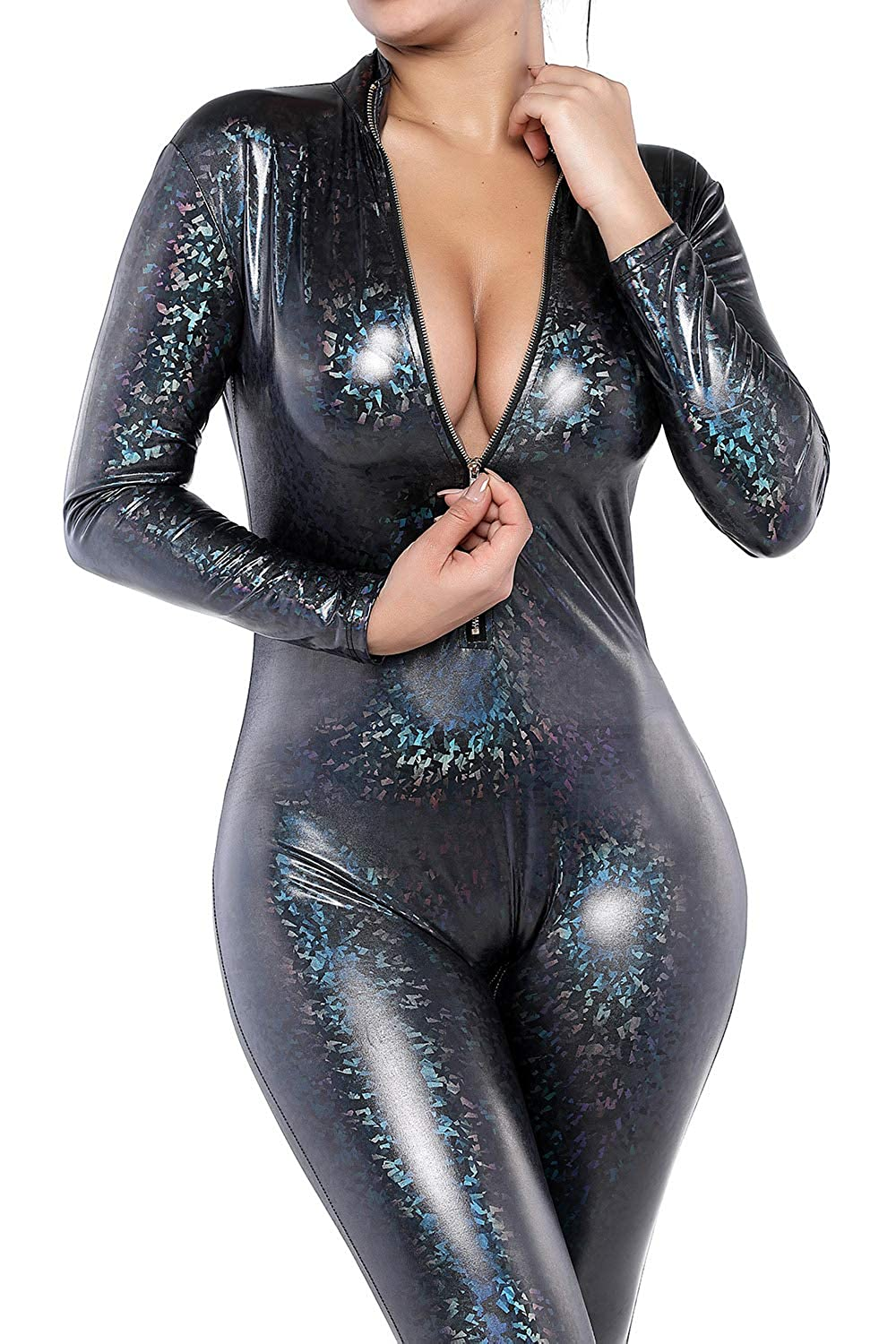Womens Fish Scales Mermaid Long Sleeve Catsuit Front Zipper
