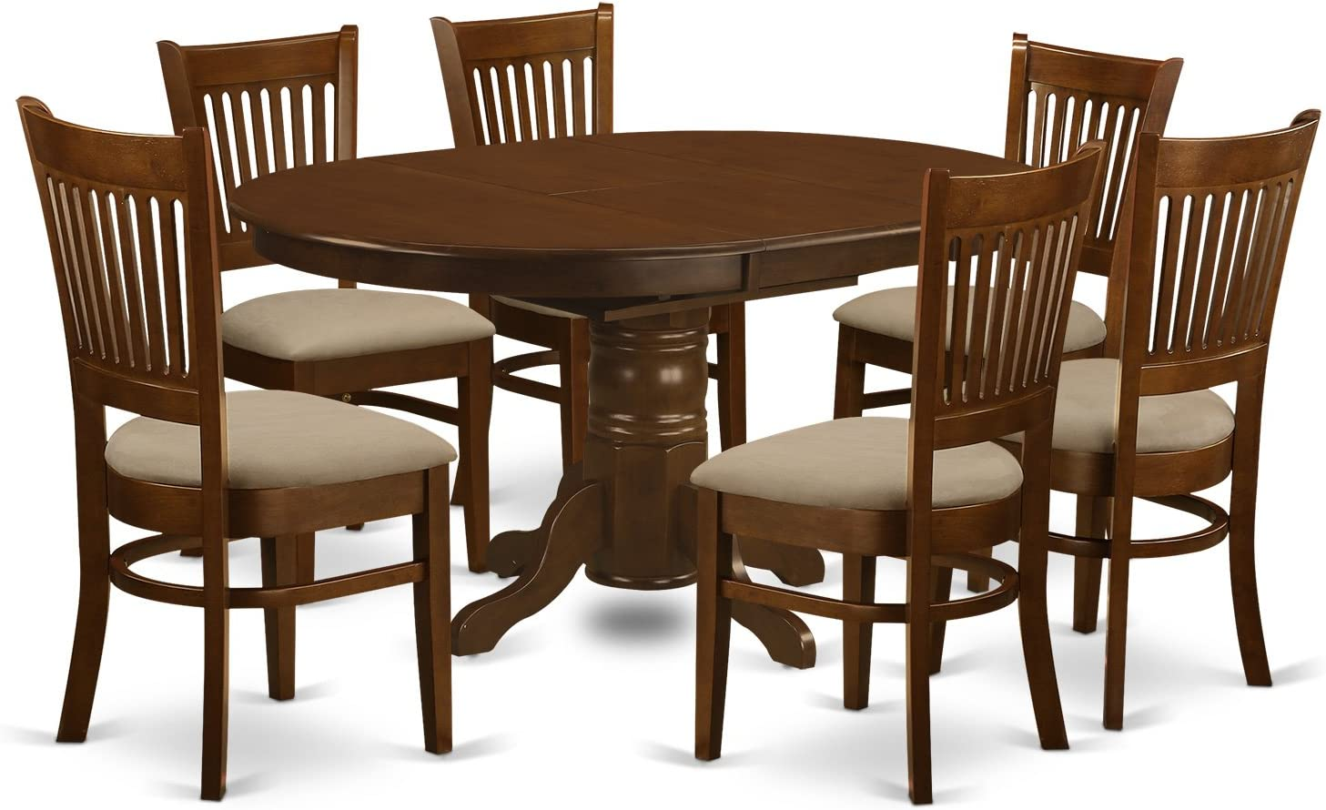 """East West Furniture KEVA7-ESP-C 7 Piece Set Kenley with One 18"""" Leaf and Six Cushioned Seat Dinette Chairs in Espresso"""