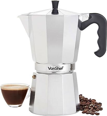 VonShef Cafetera Espresso Italiana Macchinetta Moka de 3/6/9/12 Tazas Incluye un Filtro y un Sello de Recambio (12 Tazas): Amazon.es: Hogar