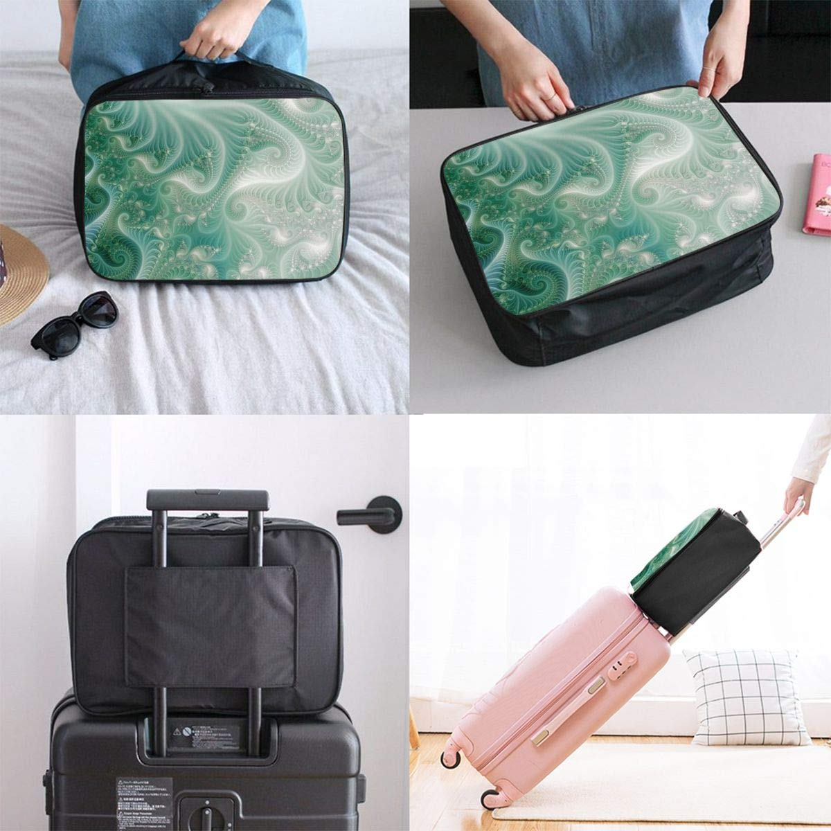 Women /& Men Foldable Travel Duffel Bag Green Octopus Underwater For Luggage Gym Sports