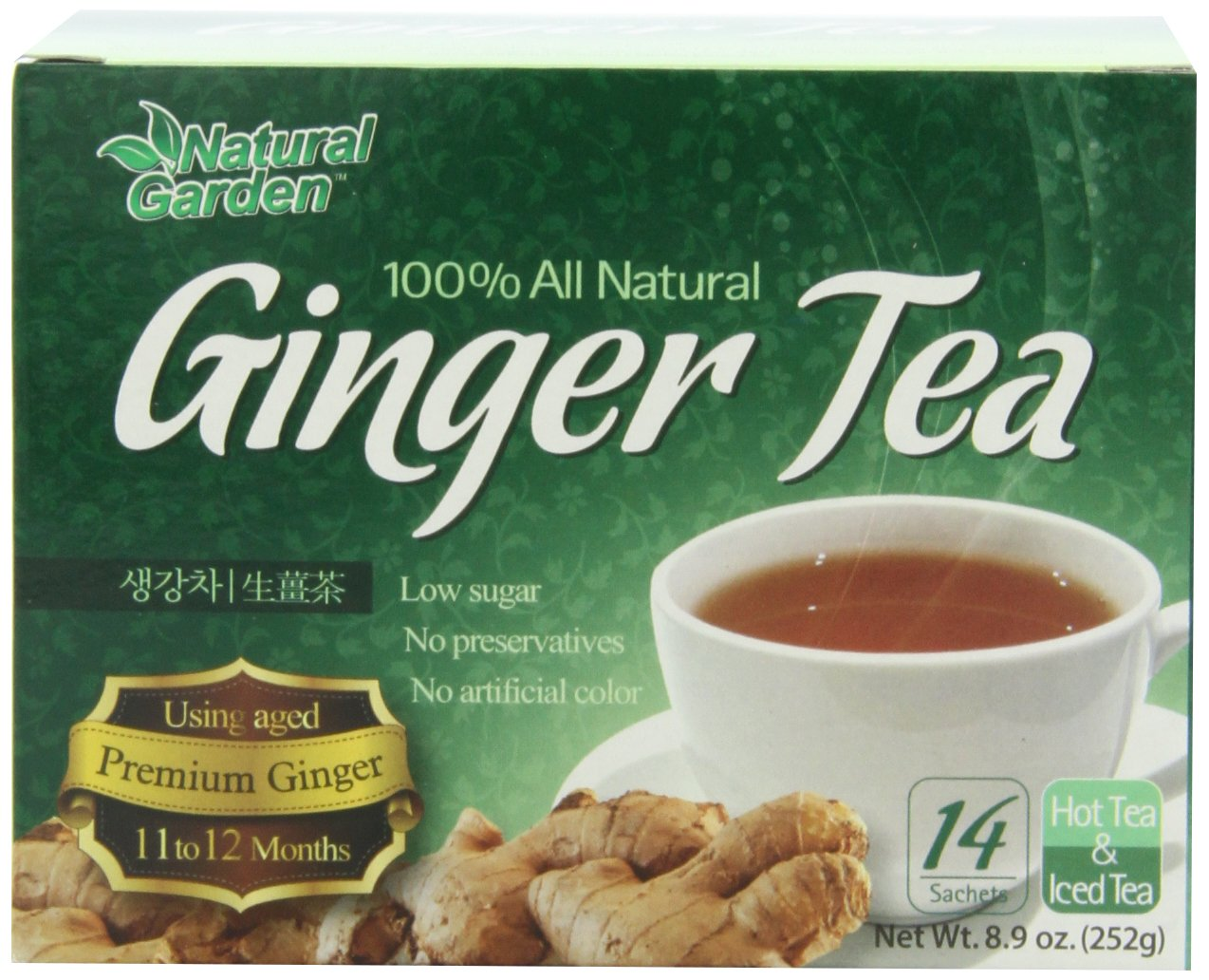 Natural Garden 100% All Natural Ginger Tea, 14 Tea Sachets (Pack of 6)