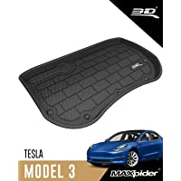 3D MAXpider Front Cargo Liner for 2017-2020 Tesla Model 3 with Smooth Basin – Black Custom Fit All-Weather Kagu Series