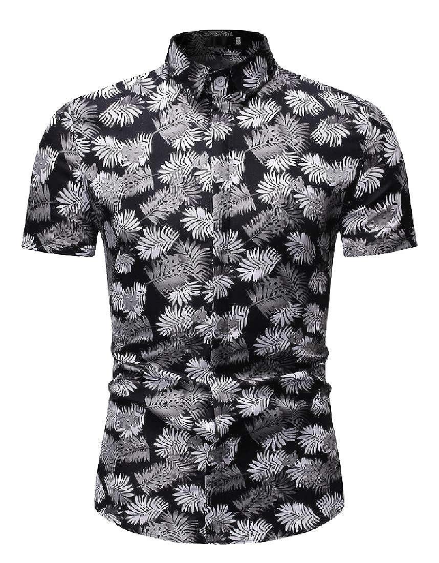 HANA+DORA Mens Hawaiian Shirt Flower Print Casual Button Down Standard Fit Beach Shirts