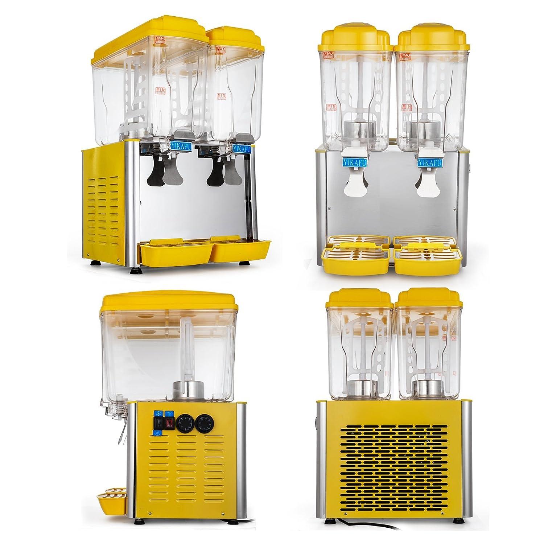 Bisujerro Dispensador de Bebida Frío 250W/380W Dispensador para Jugo Caliente y Frío Dispensador para Bebidas Comerciales con 2/3X4.75 Galones Tanques ...