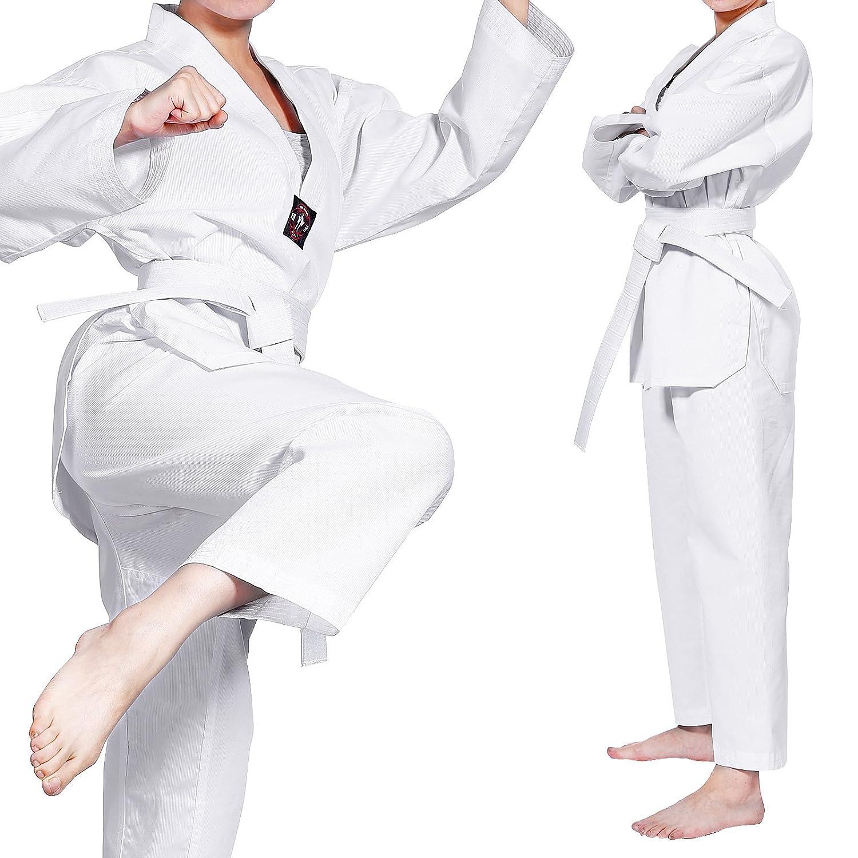 CLE DE TOUS - Uniforme Commpleto de Taekwondo Karate Dobok para Niños con Cinturón 3 Tallas Dobok Asiana Cuello Blanco surepromise