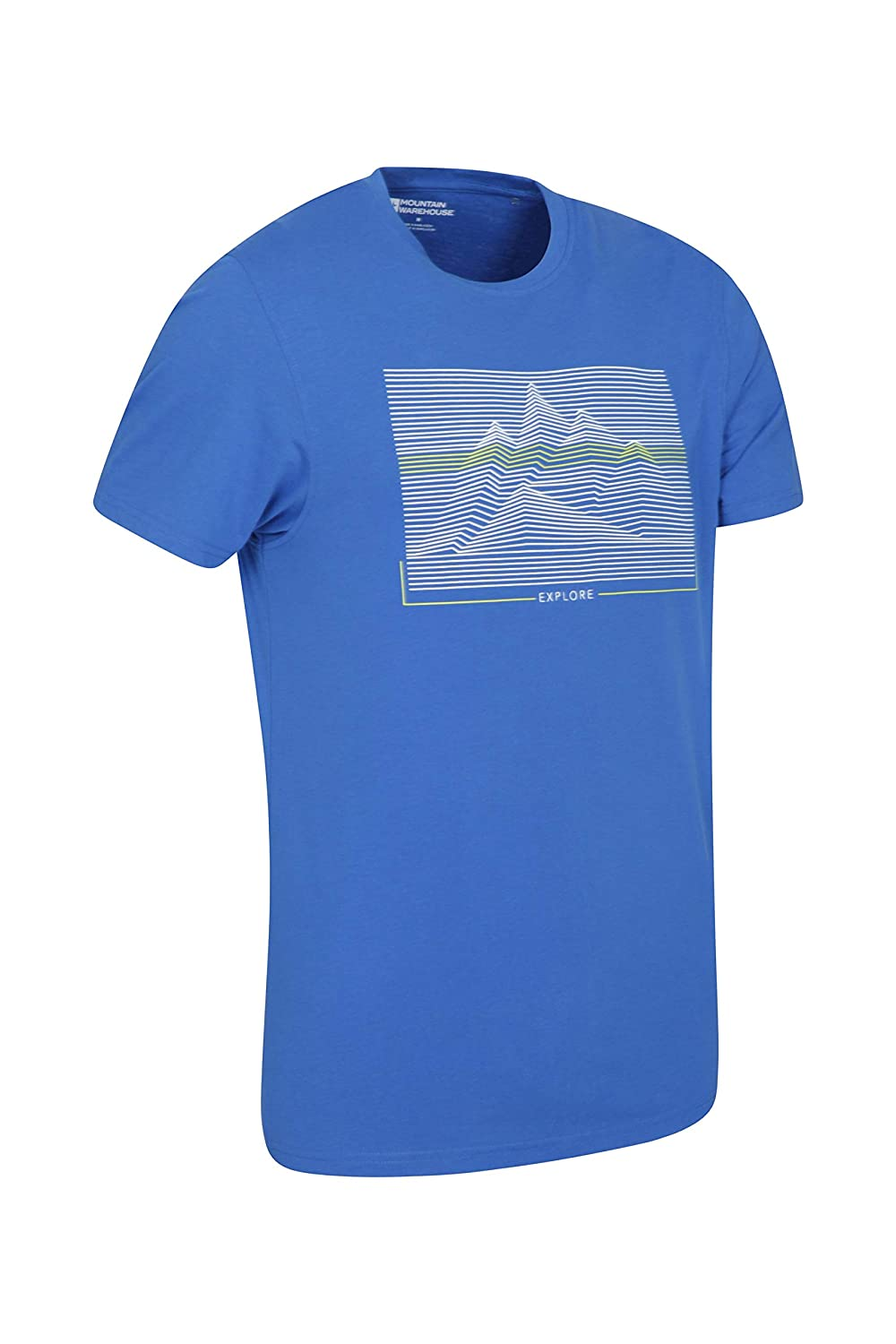 Mountain Warehouse Linear Mountain Mens Tee Quick Wick Easy to Pack Top for Spring Travelling /& Gym Breathable Summer Tshirt Quick Drying Undershirt Lightweight
