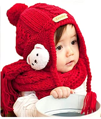 0a5bfa22b95 Amazon.com  Cartoon Bear Red Knitted Wool Crochet Hat Scarf Set ...