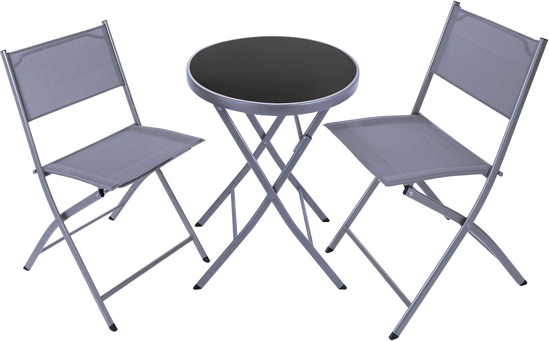 TecTake 800811 Conjunto de Muebles de Jardín, Set de 2X Sillas 1x Mesa, Estructura de Acero, Terraza Patio Balcón, Mobiliario de Exterior, Nuevo (Gris)