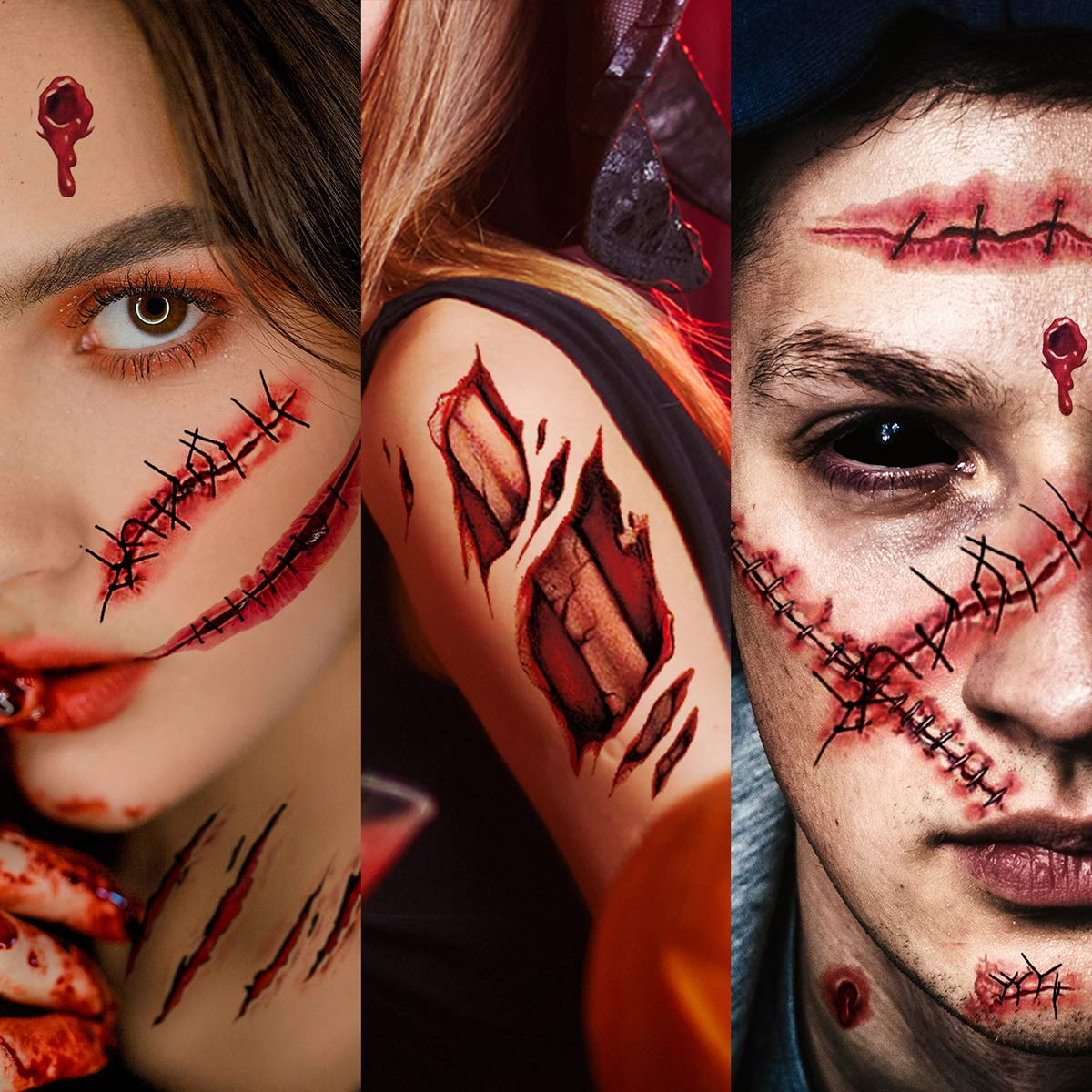 Waterproof Temporary Tattoo Sticker Halloween 3D Zombie Scar Fake Bloody Wound for Cosplay Party Masquerade Prank Makeup Props Over 40 Halloween Themed Patterns Designs on 10 Sheets