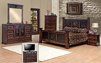Amazon.com: King Size Copper Creek Bedroom Set, Dark Stain ...