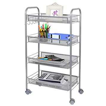 Lifewit Mesh Rolling Storage Cart with 4 Baskets and Hooks, Kitchen and Bathroom Organization Shelf