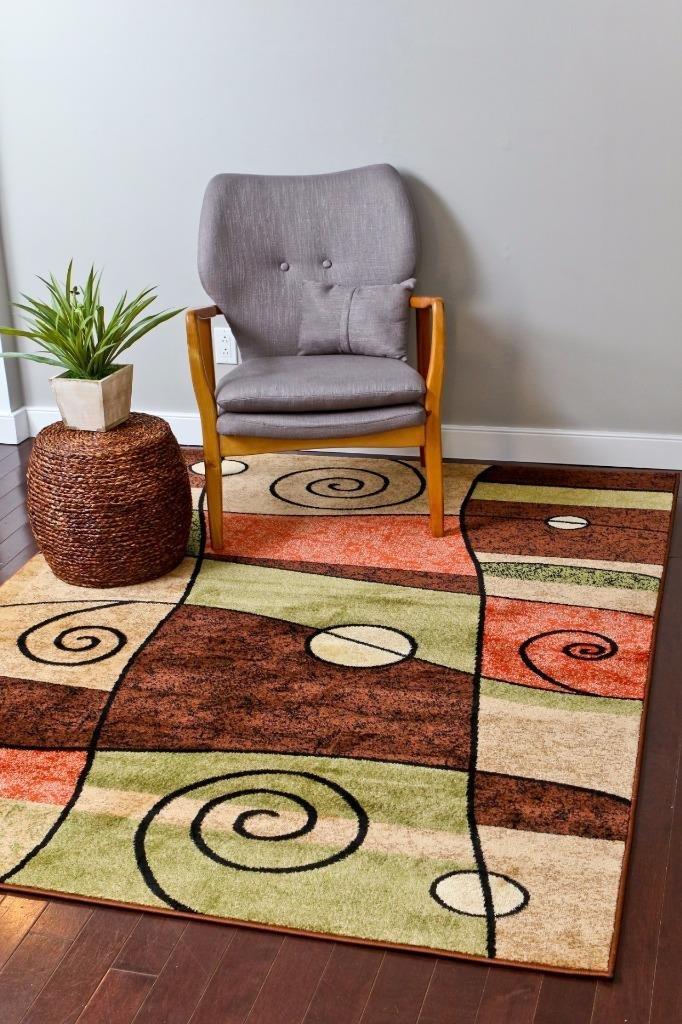 amazoncom orange black 5x7 area rug modern carpet new kitchen u0026 dining - Area Carpets