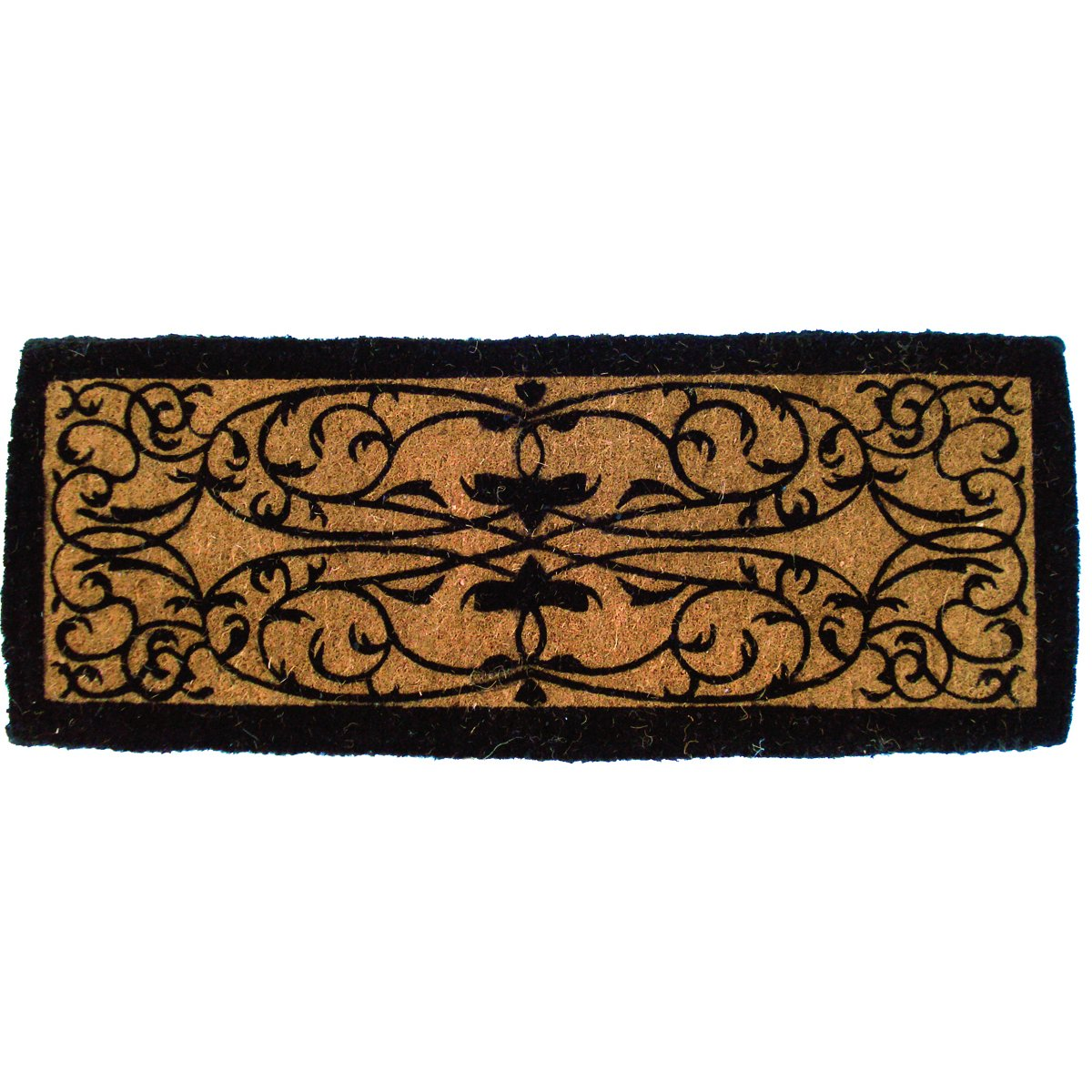 Entryways Iron Gate Border Extra Thick Handmade, Hand-Stenciled, All-Natural Coconut Fiber Coir Doormat 36'' X 72'' X 1.5'' by Entryways