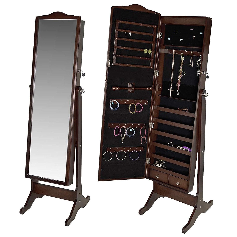 Bricozone Armadio Specchio Portagioie Gioielli con Chiusura Sicura a Chiave, Portagioie con Specchio per Camera da Letto, 158 x 48 x 37 cm, Legno Marrone