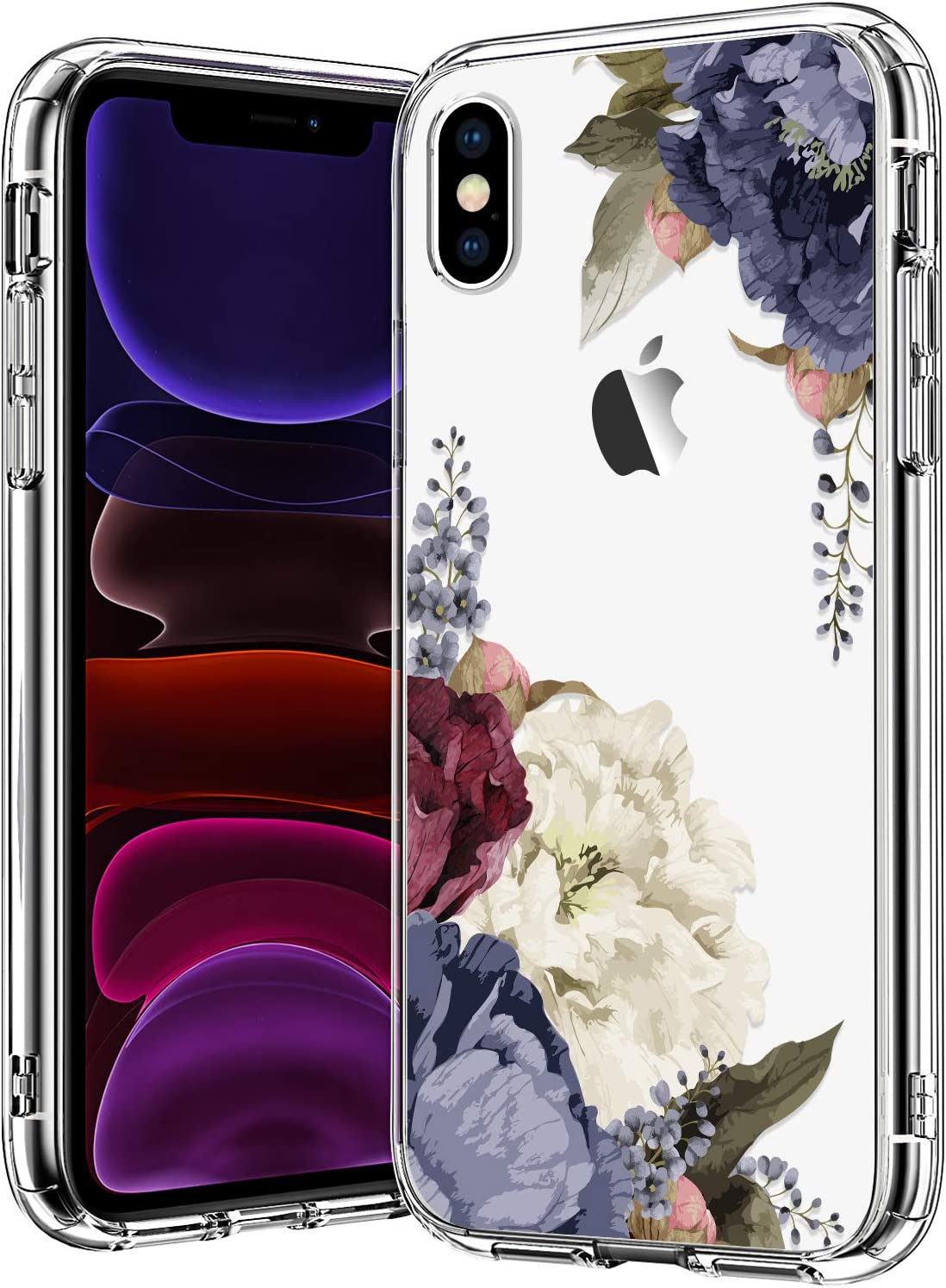 BICOL iPhone X/iPhone Xs Case,Purple Champagne Floral Flower Pattern Clear with Design Plastic Hard Back Case with Soft TPU Bumper Protective Cover Phone Case for Apple iPhone X/iPhone Xs