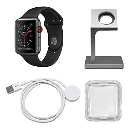 Apple Watch Series 3 Smartwatch (GPS + Cellular) Plus Charging Stand, Extra Charging Cable and Clear Fitted Protective Case (Renewed) (38mm, Space ...