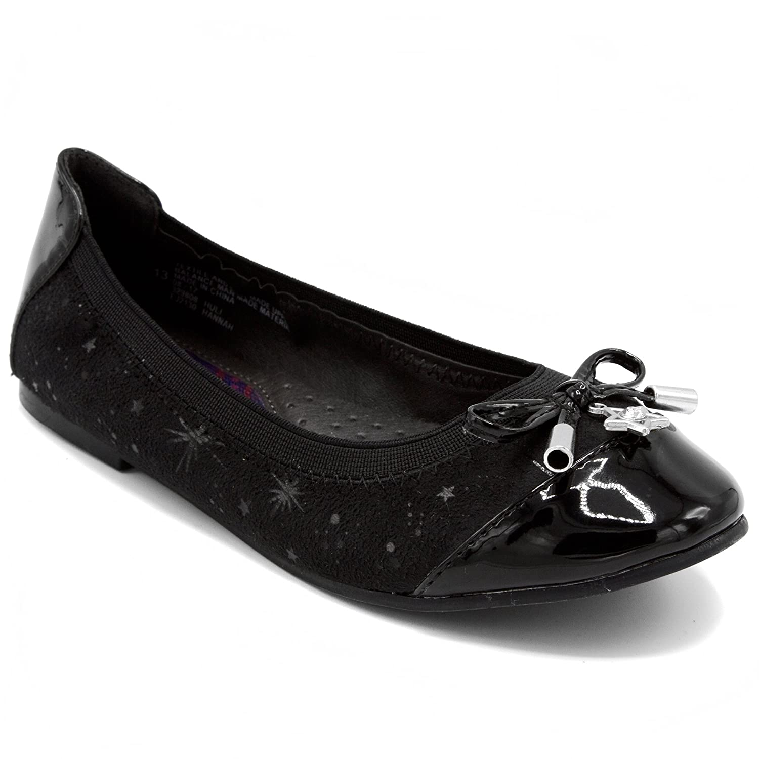 French Toast Girls Hannah Uniform Dress Shoe, Ballet Flat with Star Ornament and Star Pattern FJ2130