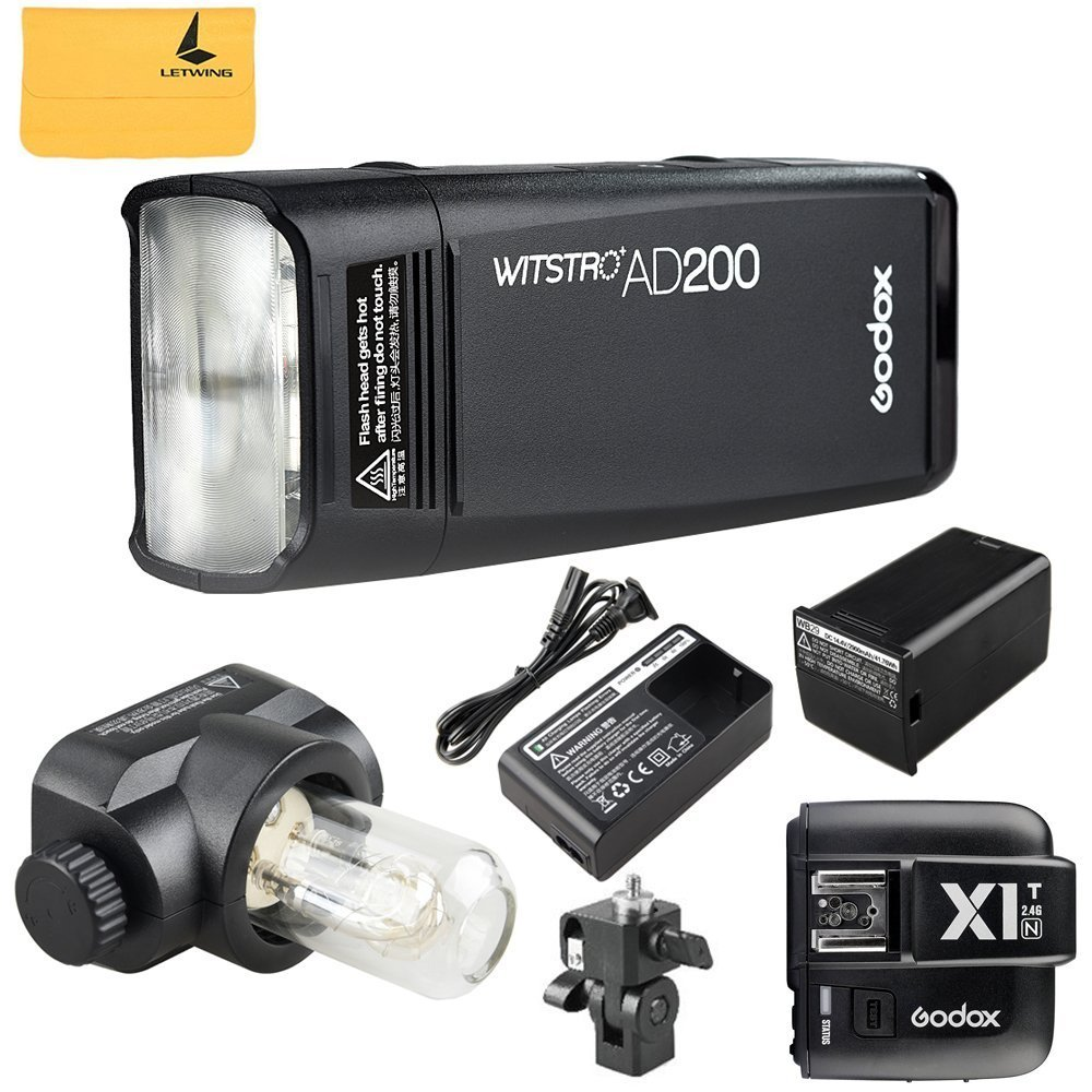 GODOX AD200 TTL 2.4G HSS 1/8000s Pocket Flash Light Double Head 200Ws with 2900mAh Lithium Battery+GODOX X1T-N TTL 2.4 G Wireless Flash Trigger Compatible for Nikon Cameras by Godox