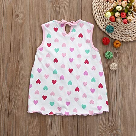 Toddler Girls Sleeveless Cotton Blend Flower Dot Striped Tees Dress T-Shirt Vest