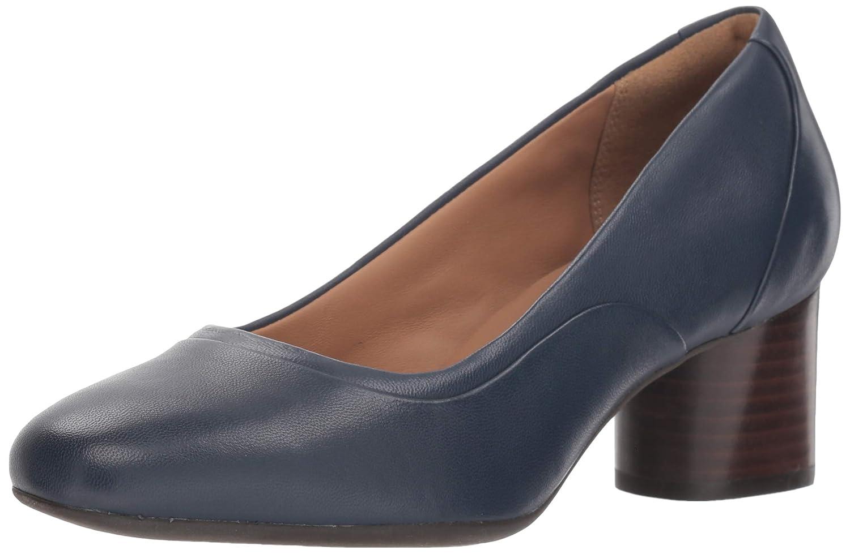 Navy Leather Clarks Womens Un Cosmo Step Block Heel