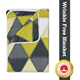 Divine Casa Natty Geometric Microfibre Single Blanket - Yellow and Grey