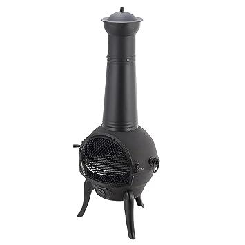 Mari Garden Segovia - Chimenea de hierro fundido, 109 cm, brasero, calefactor para