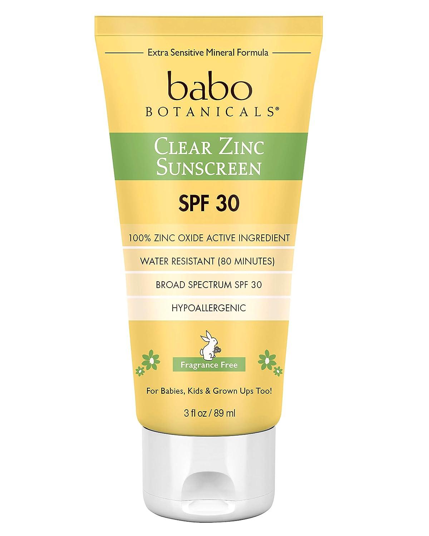 Babo Botanicals SPF 30 loción de zinc transparente, sin fragancia ...