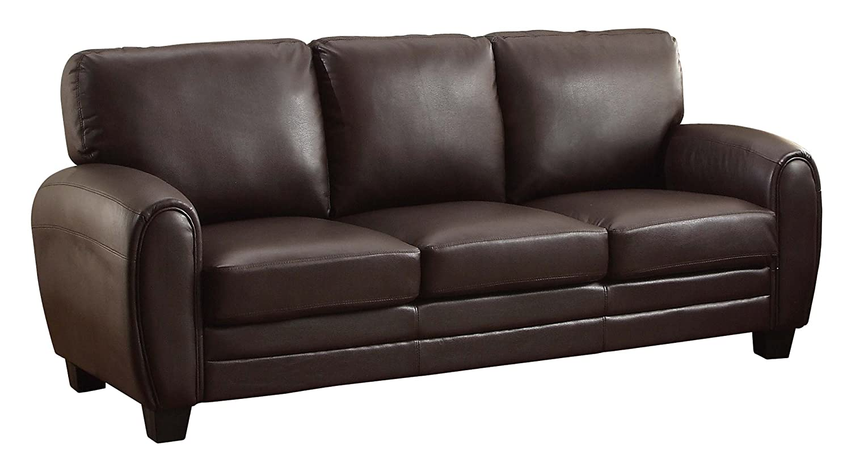 Amazon Homelegance 9734DB 3 Upholstered Sofa Dark Brown