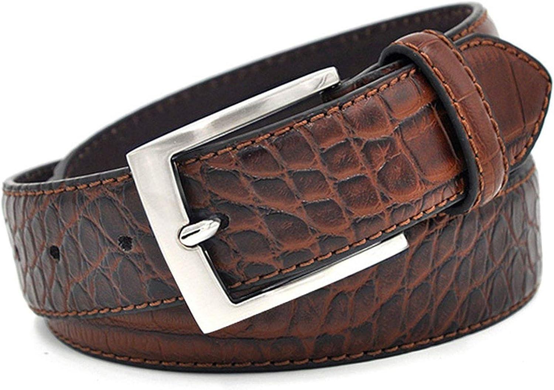 Men Faux Alligator Pattern Designer With Three Colour Choose Split Leather Lining Material Crocodile Belt