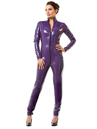 Honour Women s Sexy Catsuit in PVC Purple with High Neck   Longsleeves   Amazon.co.uk  Clothing c02829f8c