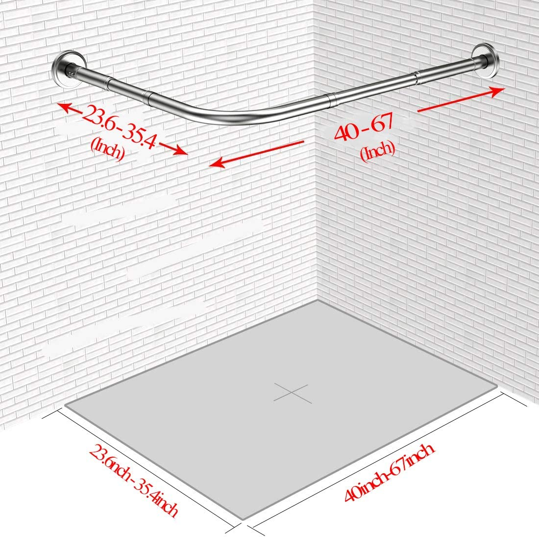 Quany Life Stretchable Corner Shower Curtain Rod Clothing Store(Free Curtain Hook) Drill Free Install 304 Stainless L Shaped 23.6-32 x 23.6-32,for Bathroom