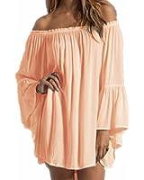 ZANZEA Women's Sexy Off Shoulder Chiffon Boho Ruffle Sleeve Blouse Mini Dress