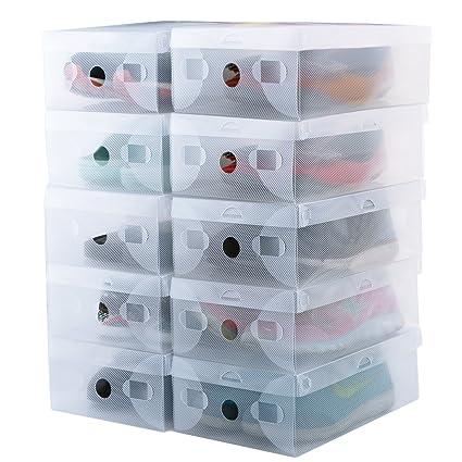 Kilofly Cajas para Almacenamiento de Zapatos, Plegables y Transparentes - Unidades 10