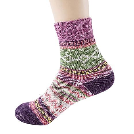 Lamdoo 1 par de Calcetines de Lana para Mujer, Estilo étnico, Color de Contraste