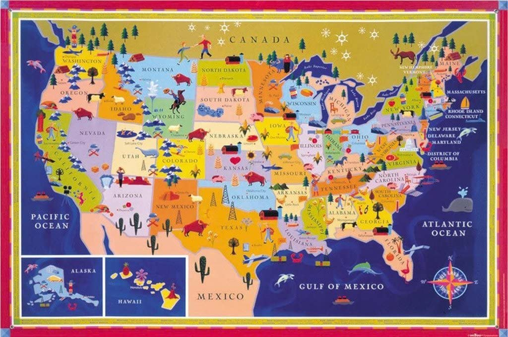 Amazon Com Eeboo Laminated United States Usa Map Poster For Kids Prints Office Products