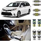 AUTOGINE 15 Piece White Interior LED Lights Kit for Toyota Sienna 2011 2012 2013 2014 2015 2016 2017 2018 2019 Super Bright 6